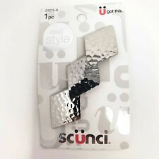 Scunci U Got This Hammered Metal Silver Colored Hair Clip Barrette NEW
