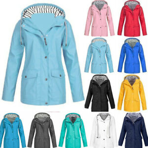 Womens Waterproof Raincoat Plus Size Outdoor Wind Jacket Coat Hoodie Lightweight