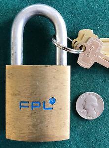Vtg BEST Logo Padlock FLORIDA POWER & LIGHT ( FPL ) + 3 Operable Keys - MINT