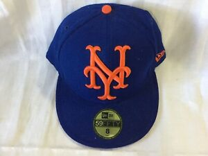 NEW ERA 59 FIFTY NEW YORK YANKEES BLUE WITH ORANGE CLASSIC FITTED MENS HAT SZ 8