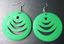 Boho Hippy Gypsy 70s Style Large Green Disc Patterned Fashion Earrings
