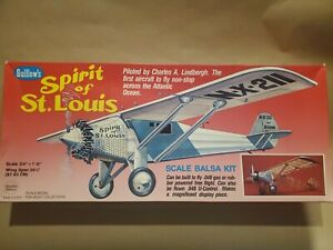 Guillows Spirit Of St Louis Scale Balsa Model Airplane Kit 807 Complete USA Made