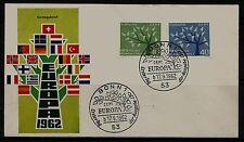 BRD FDC MiNr 383-384 (4c) Europa (CEPT) 1962 -Vereinigung-Staatenbund-Politik-