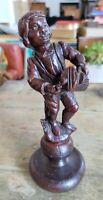 Joueur de vielle à roue en bois sculpté ancien sur socle Hauteur environ 18 cm
