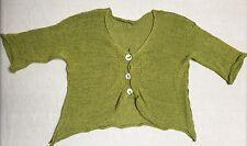 SKIF Cardigan Sweater in Chartreuse Greens Asymmetrical Hem Lagenlook OS