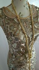Trapunta Vintage 1920,s stile Downton Gatsby NUDO Oro con Perline Matrimonio Flapper dress size 8