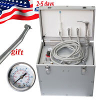 Portable  Dental Delivery Cart Unit Hand-held Case with Air Compressor Handpiece