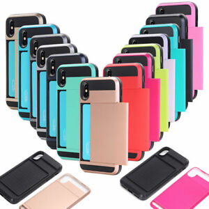 Hybrid Hard Armor Case Cover With Card Holder Slot For Various Apple Samsung