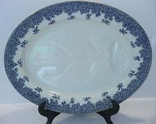 Antique Royal Worcester W2279 Blue/ White Oval Serving/Carving  Platter, c1887