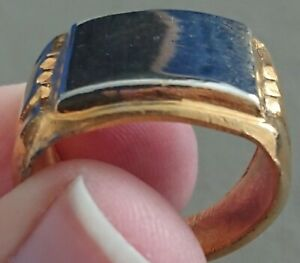 LARGE VINTAGE MENS BLING CHUNKY GOLD SILVER TONE SIGNET PINKY RING
