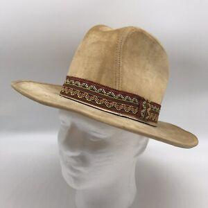 Newport Western Cowboy Hat Tan Small 6 3/4 - 6 7/8 Rigid Mens Vintage