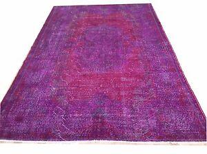 "9'6""x5'10""  Vintage PURPLE red lavender OUSHAK COLOR FERORM Overdyed carpet rug"