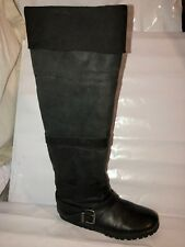 MISS SIXTY LEATHER FLAT SIZE 6/39 KNEE HIGH BLACK TALL WOMENS LADIES BOOTS SHOES
