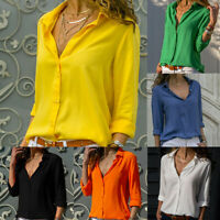 Women Summer T-shirt V-neck Blouse Button Long-sleeve Chiffon Tops Solid S-3XL