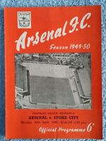 1950 - ARSENAL v STOKE CITY PROGRAMME - FIRST DIVISION 49/50