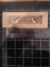 Happy Easter wood mounted Rubber stamp - some discoloration