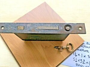 Vintage Pocket Door Lock RH Co. -Flat Face-Steel w/ Folding Key