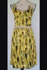Trelise Cooper Golden Years Swan Lake Silk Feather Print Dress Gold