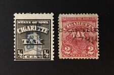 Iowa State Revenues - 2 diff Cigarette Tax #C1 #C12 - used - IA