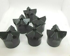 "Rock Drill Bits Cross - H thread 1 3/4"" Timken-Lot of 6 pieces- Lot#55"