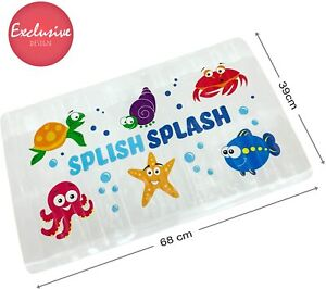 Kids Childs Baby Anti Non Slip Long Bath Mat Safety Ducks Strong Suction Shower