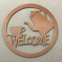 Coffee Welcome Sign Metal Wall Art Skilwerx Colors 9 x 9 Coffee House caffeine