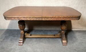 Carved Oak Extending Dining Table