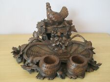 """LARGE 12"""" QUALITY ANTIQUE BLACK FOREST HEN INKWELL  SWISS WOOD CARVING"""