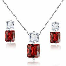 Princess Garnet Red Simulated Diamond Sterling Silver Necklace Earring Set
