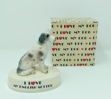 I Love My English Setter Dog Porcelain Figurine Vintage George Good 1980's Japan