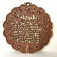 My Kitchen Prayer Plaque Wall Hanging Gingerbread Man Rolling Pin Clover Vintage