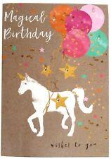 610 Single Birthday Card - Magical Birthday - Unicorn & Jewells  (Size II)