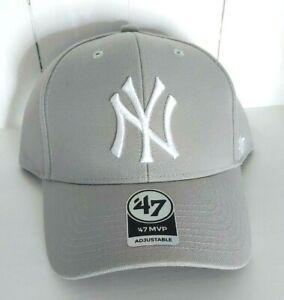 New York Yankees 47 Brand MVP Adjustable Gray Cap Classic NY Logo MLB OSFA