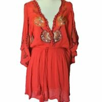 Free People Red Floral Embroidered Dress M NWT Medium