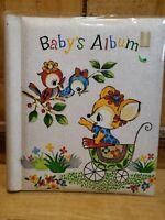 "Vintage 60s Babys  Photo Album Metalic Cloth Scrapbook 12.5x13"" Made in Japan"