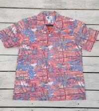 Mint Nui Nalu vtg. 1970s Hawaiian Shirt Mens M Reverse Print Sunset Palm Trees L