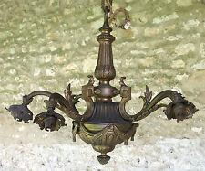 LUSTRE en BRONZE, superbe lustre ancien, en bronze, 6 lumières, 6 branches .