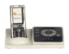 Escala 1:12 Teléfono Inalámbrico 2 piezas no en funcionamiento & Base Accesorio de casa de muñecas