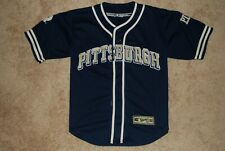 Men's Pittsburgh Panthers Navy Blue / Gold Fitted Baseball Jersey (Large)
