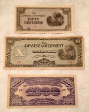 Lot of 3 - Japan bill notes - 10 pesos, 1000 pesos, 50 centavos - CRISP!