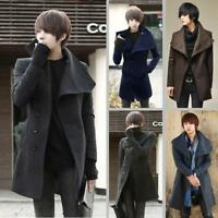 Men's Fashion Korean Wool Blend Slim Fit Long Jacket Trench Coat Suit Outwear Cz