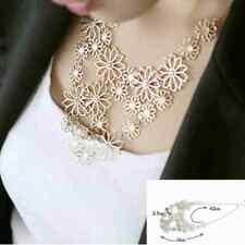 New Women Fashion Chain Jewelry Flower Bib Choker Pendant Statement Necklace DH