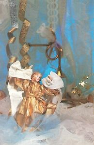 Postcard Ephemera XMAS Christmas Ornaments Angels Stars Horn Gold Trimming