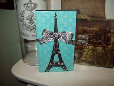 Paris decor SMALL blue teal Eiffel Tower block sign shabby French chic