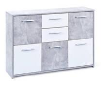 Commode moderne coloris gris blanc avec 5 portes 2 tiroirs