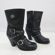 Harley Davidson Boots 7 Black Leather Studded Straps Logo Biker Heeled Obsession