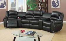 5 PC BLACK BONDED LEATHER RECLINING SOFA RECLINER SECTIONAL FURNITURE SET MODERN