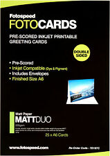Fotospeed Matt Duo 240gsm - 25 A6 Pre-scored Cards and envelopes