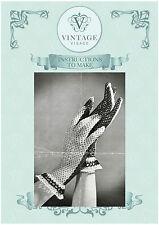 Vintage 1940s crochet pattern-how to make elegant lace crochet gloves