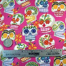 Alexander Henry MINI CALAVERAS PINK Sugar Skulls Fabric Day of the Dead by YARD